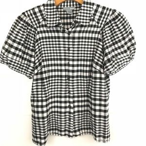 Anthro | Ellavie silk gingham checkered blouse